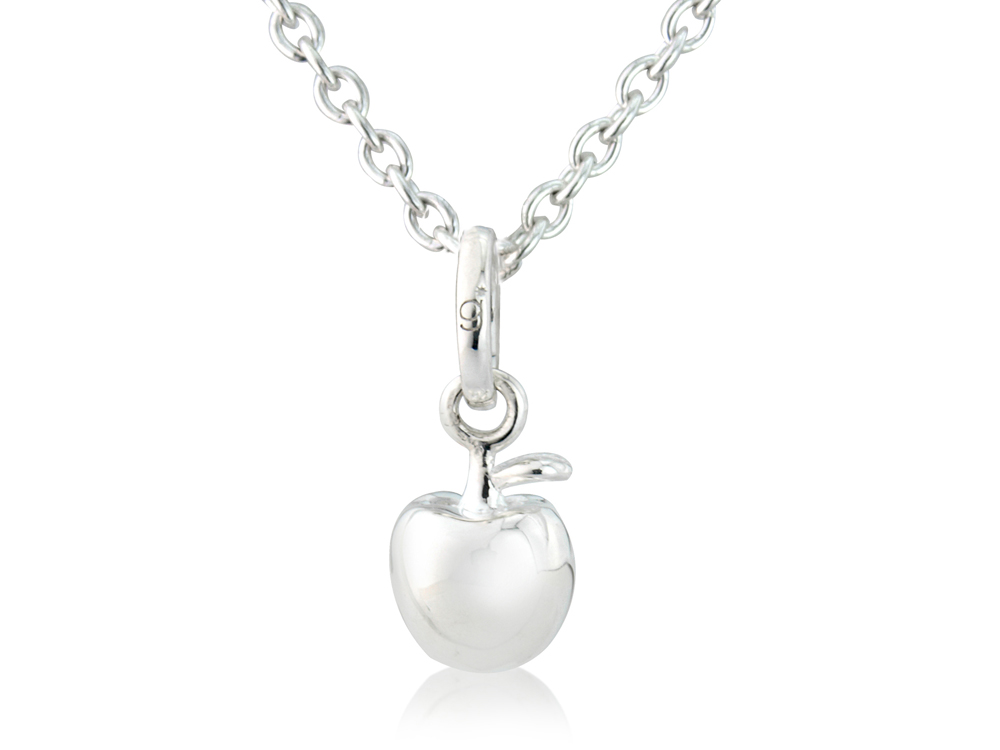 Apple pendant in sterling silver on an adjustable silver chainmma j apple pendant aloadofball Images