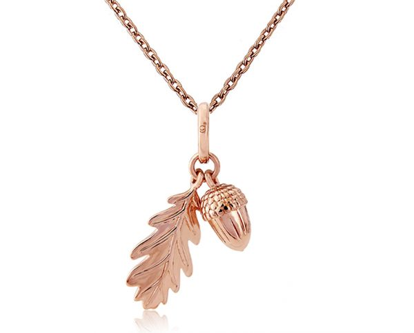Rose Gold Acorn and Leaf Pendant