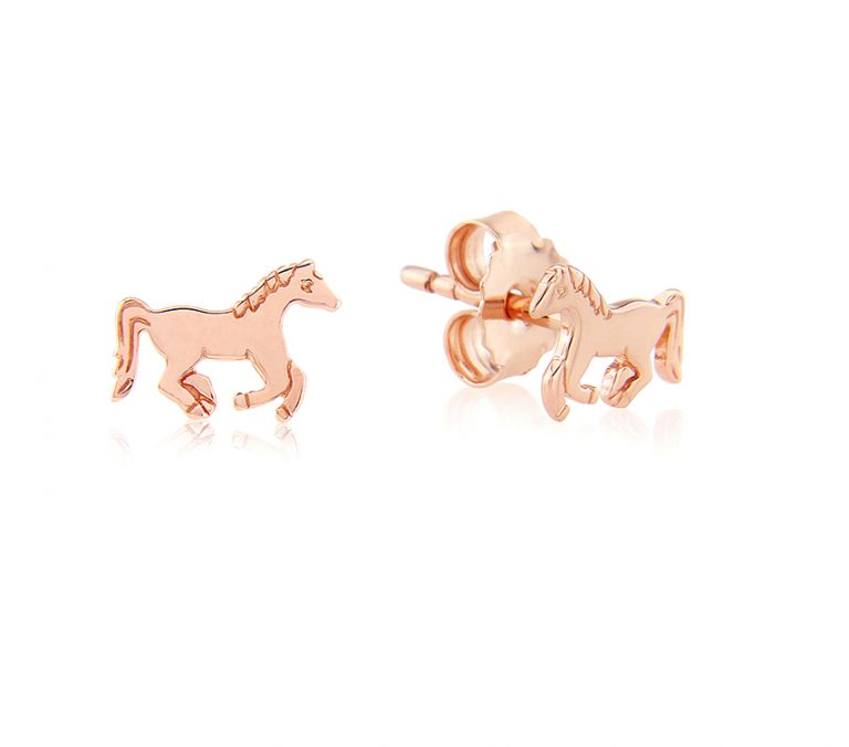 rose gold running pony studs