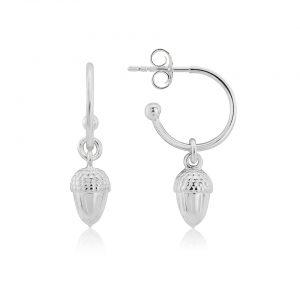silver acorn hoop earrings