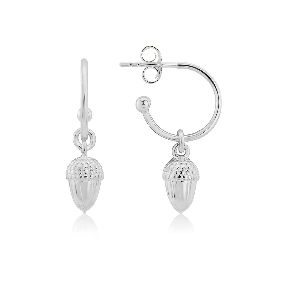 silver acorn hoop earrings