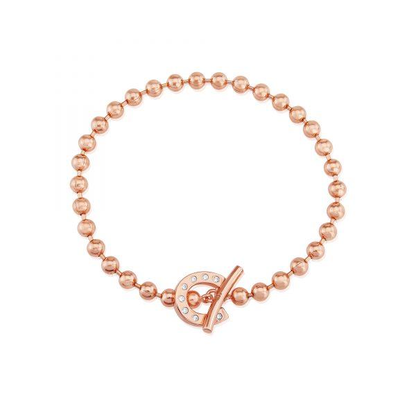 rose gold t bar horseshoe bracelet