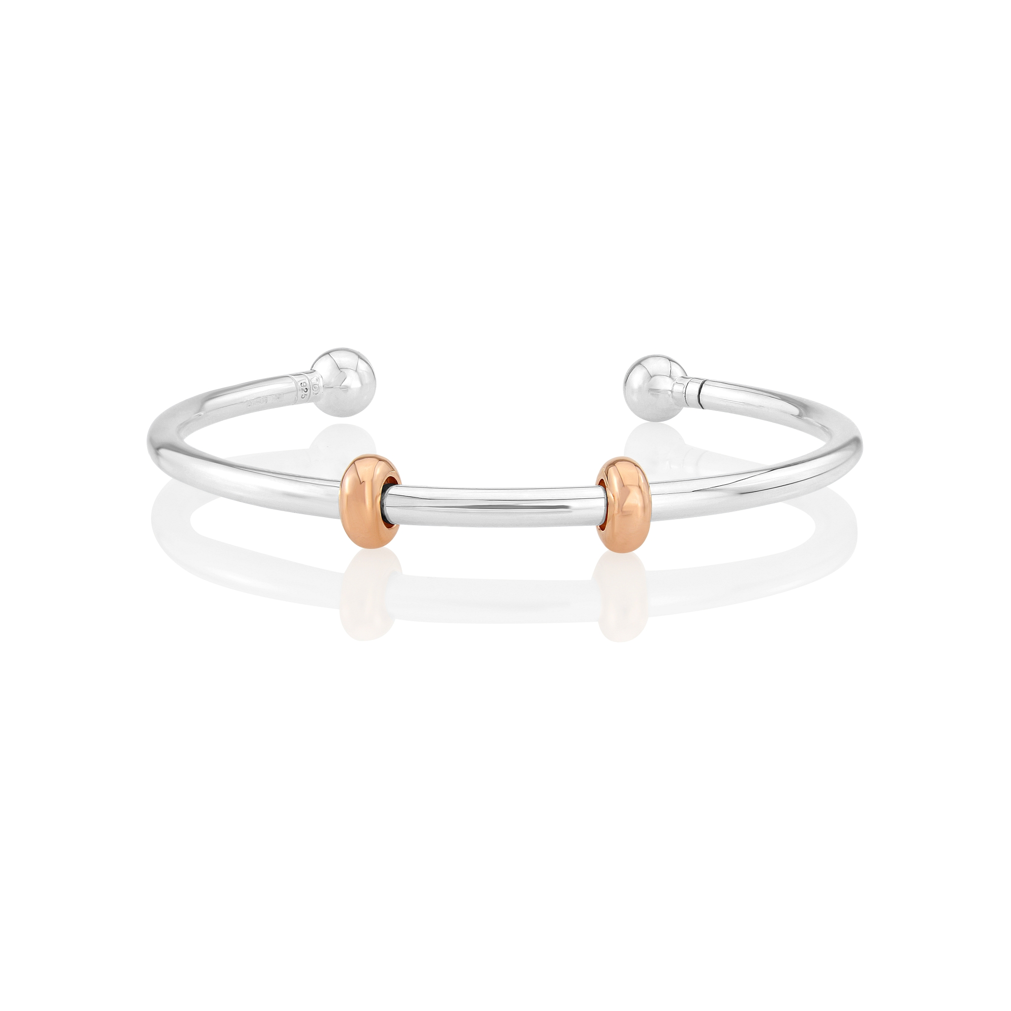 Charm bangle with Rose Gold stoppers