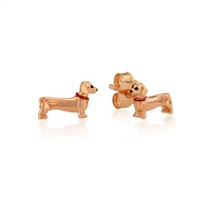 Rose Gold Dachshund Studs