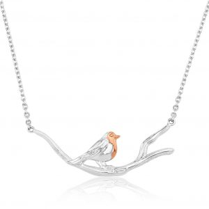 robin on branch necklace