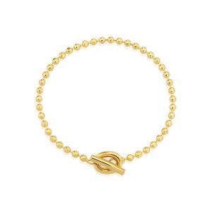 Yellow Gold T Bar Beaded Bracelet