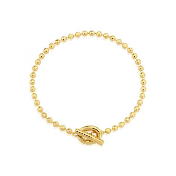 Yellow Gold T Bar Beaded Bracelet