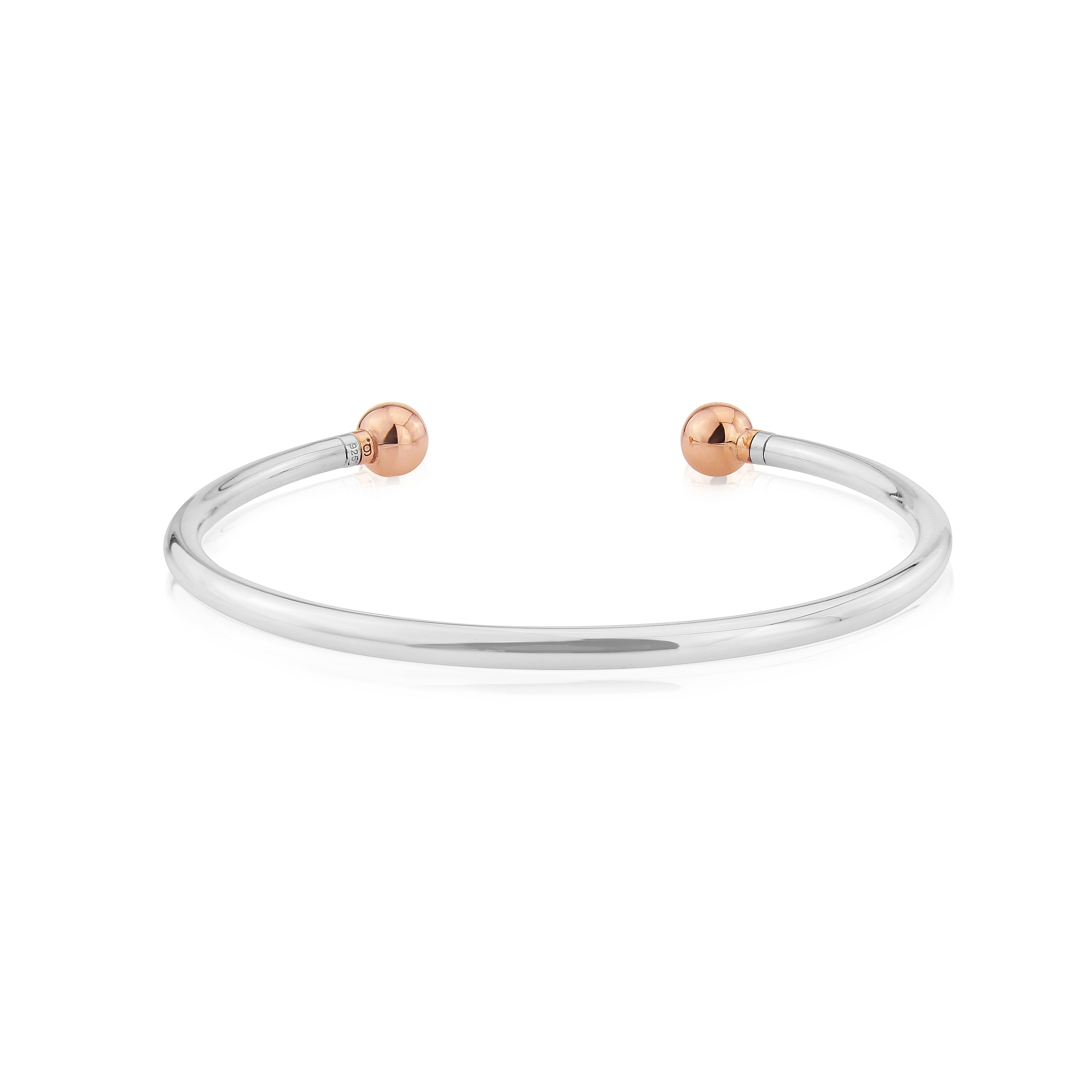 rose gold ended charm bangle