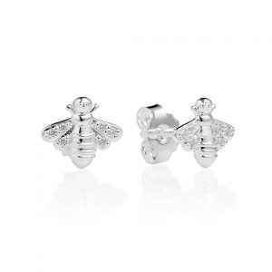 silver sparkly bee studs