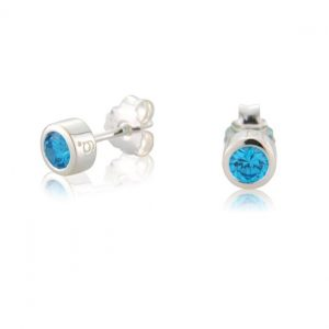 Aqua CZ Earrings (March)