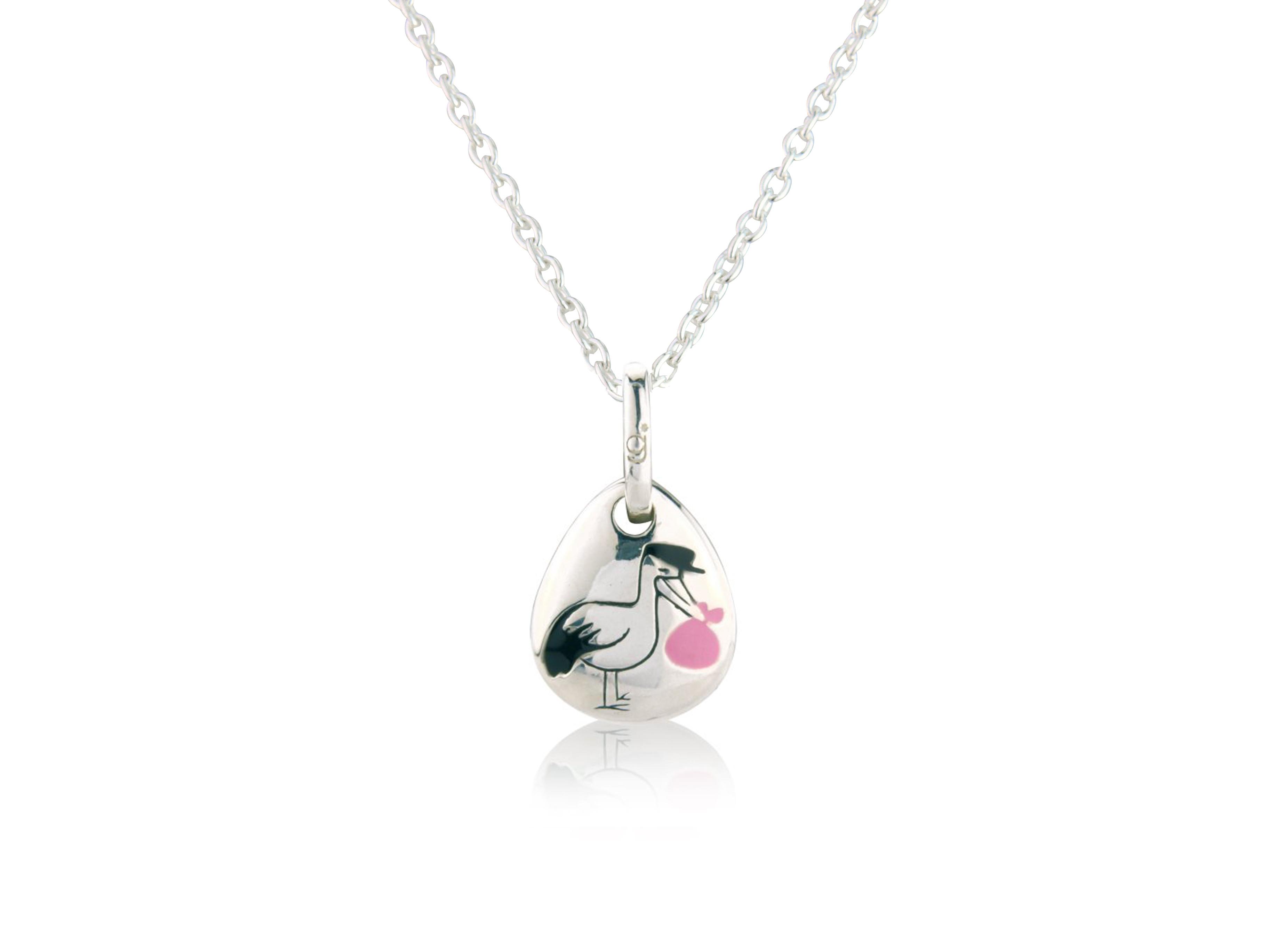 Pink Stork Pebble Pendant