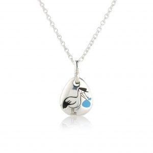 Blue Stork Pebble Pendant