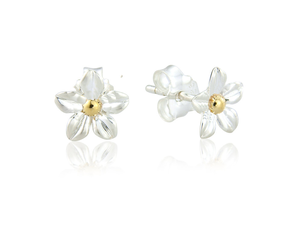silver blue flower powder earrings product eloise enamel stud