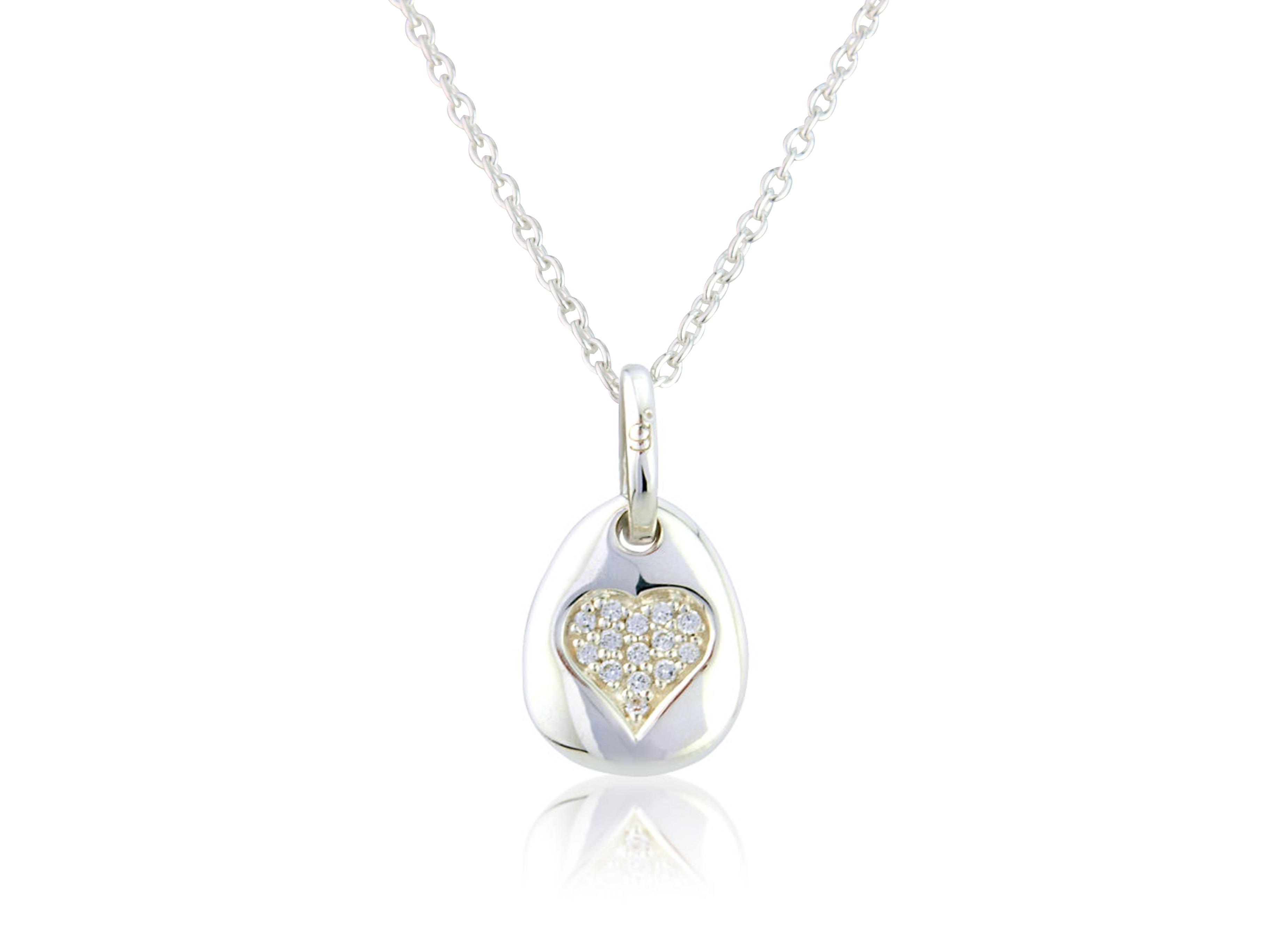 Sparkly Heart Pebble Pendant