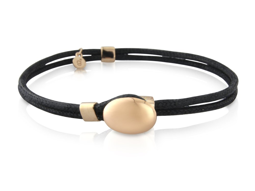 Rose Gold Pebble Bracelet Black